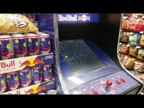 Real, Working Red Bull Pac Man Arcade Game In Convenience Store!