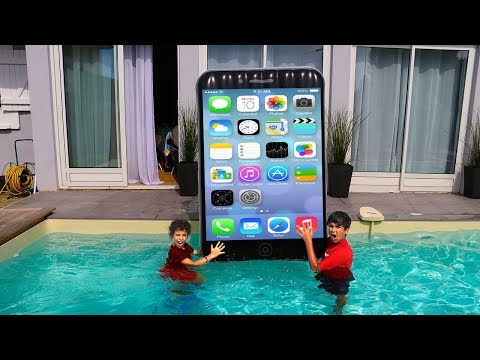 BIG IPhone in Swimming Pool,  kids pretend play, funny videos for kids