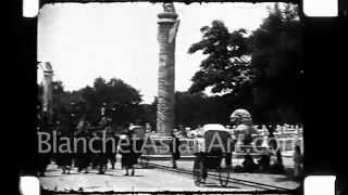 1920's film of China: funeral procession of a General, showing ancient costumes