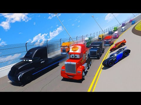 Thumbnail: Race Trucks Daytona Truck Mack Gale Beaufort Jerry Lightning McQueen Jackson Storm Cars and Friends