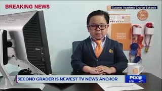 Second grader is NYC`s newest TV anchor