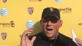 FightOn247 Video: Clay Helton USC Spring Practice #14