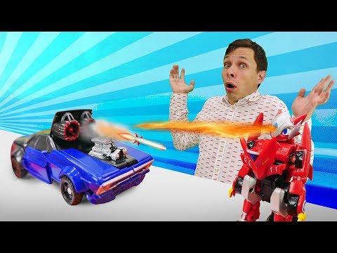 Игры Трансформеры - Монкарт Драка против Десептикона! – Видео с машинками в Автомастерской.