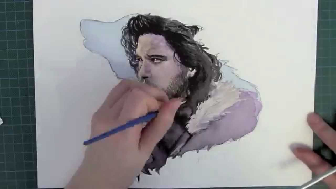 Game with watercolor - Jon Snow Game Of Thrones Watercolour Painting