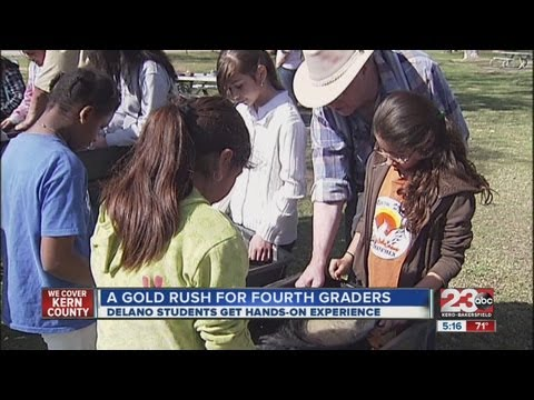 Fourth graders from Delano's Nueva Vista Language Academy learn about gold prospecting