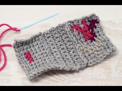 Surface Cross Stitch on Tunisian Crochet - YouTube