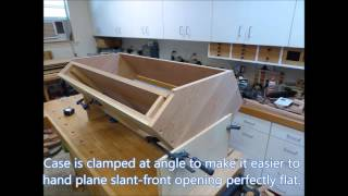 Building a cherry federal style desk-on-frame with slant front.