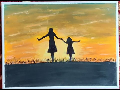 Easy Acrylic Painting/Mom And Daughter Painting/Canvas Painting