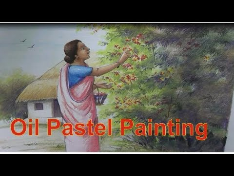 how to paint scenery with figure | oil pastels | oil pastel painting | online classes