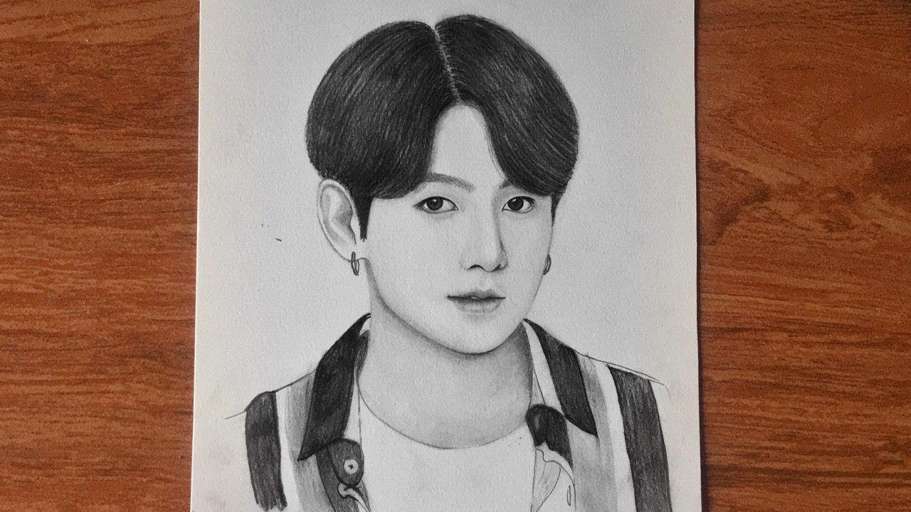 How To Draw Jungkook Bts Sketch Pencil Drawing Bts រ នគ ររ បជ ងគ Youtube