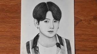 how to draw Jungkook  BTS sketch  pencil drawing BTS  រៀនគូររូបជុងគុ