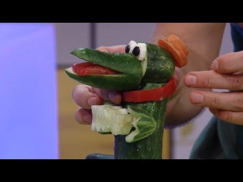 Мастерская - Крокодил Гена из огурцов и морковки - Поделки - С добрым утром, малыши!