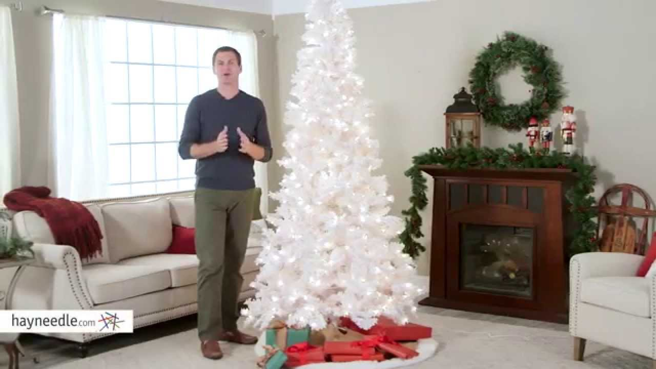 deluxe white flocked pre lit christmas tree product review video youtube - White Pre Lit Christmas Trees