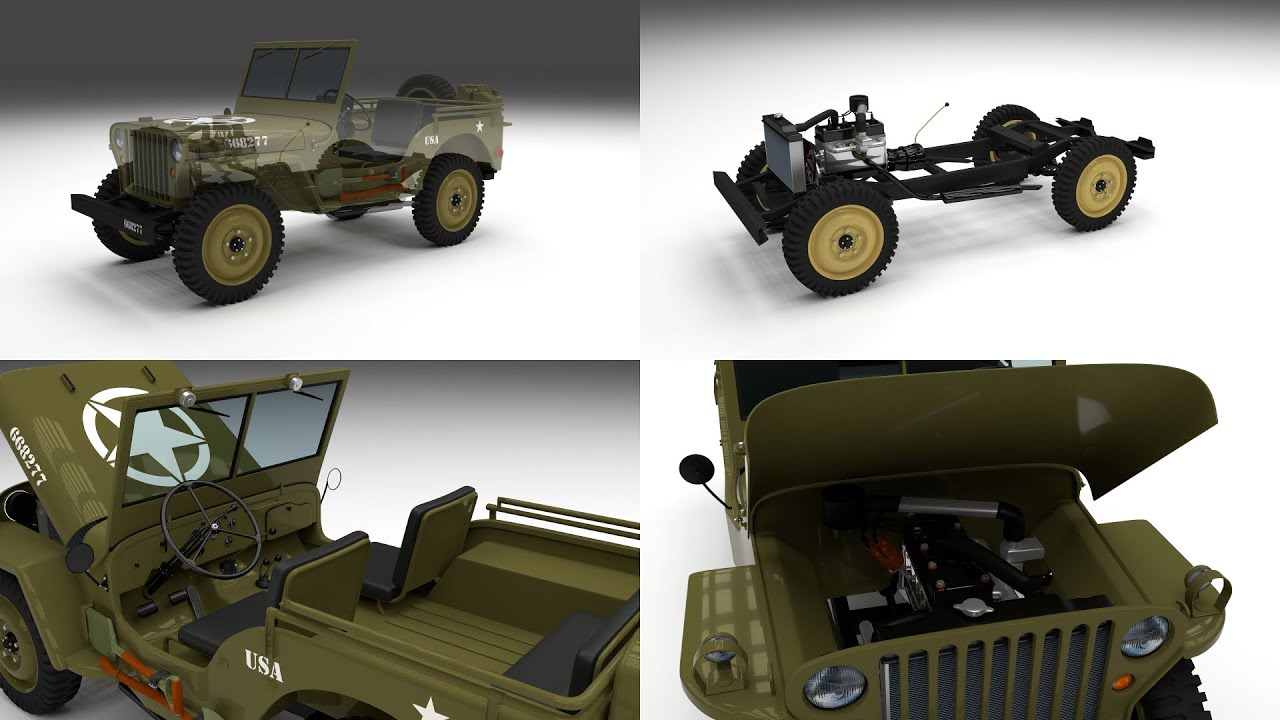 full w chassis jeep willys mb military 3d model youtube. Black Bedroom Furniture Sets. Home Design Ideas