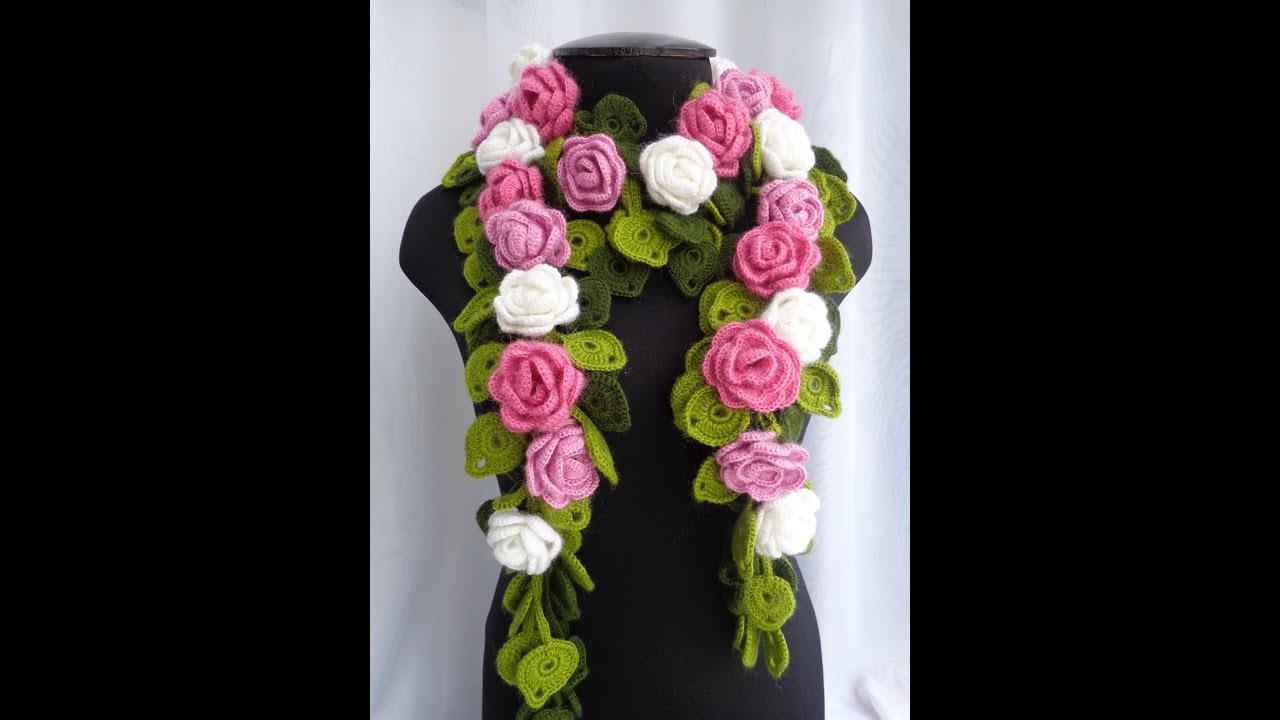 схема вязания шарфа с цветами крючком