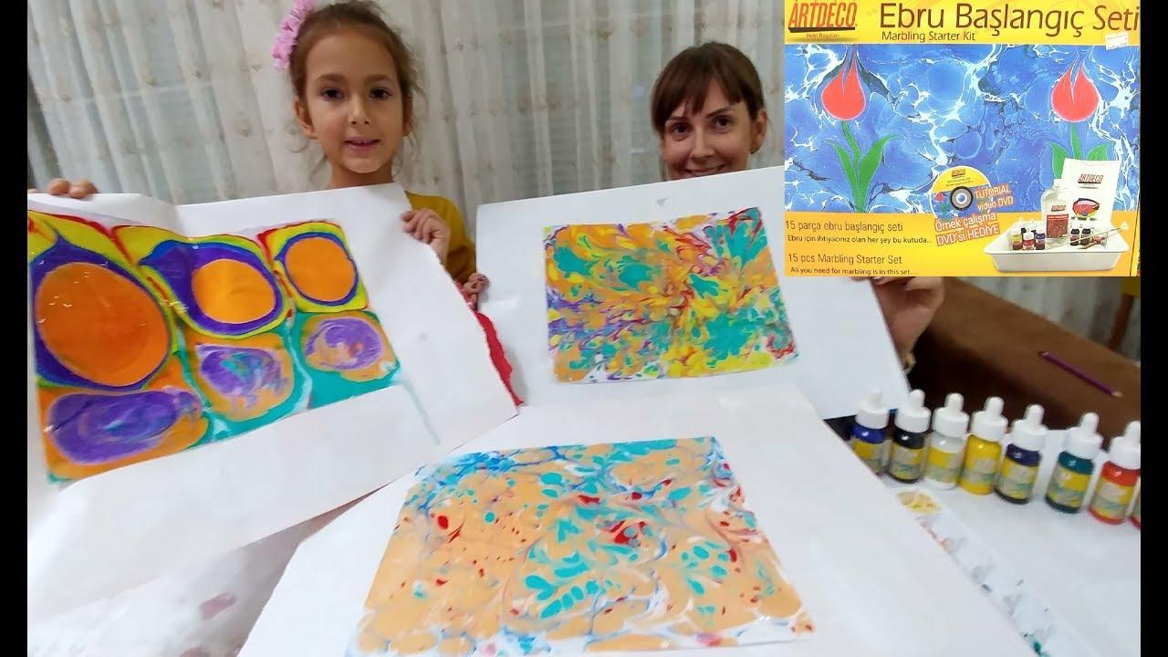 Ebru Boyama Sanati Başlangiç Seti Ile Ebru çalişmasi Yaptik