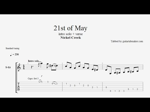 Nickel Creek - 21st of May TAB - acoustic intro solo