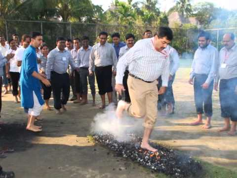 Dr Pramod Tripathi's Team Integration Program with Fire-walking!