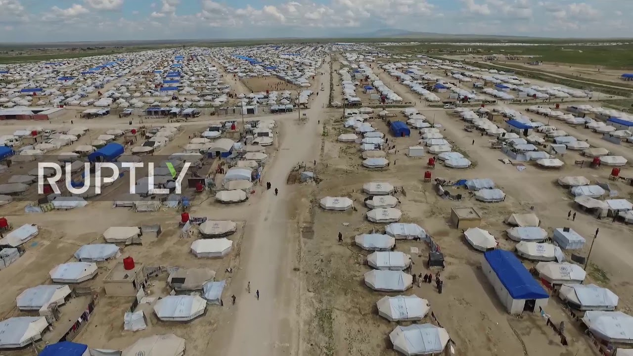 Syria: See first drone footage of Al-Hol refugee camp ...