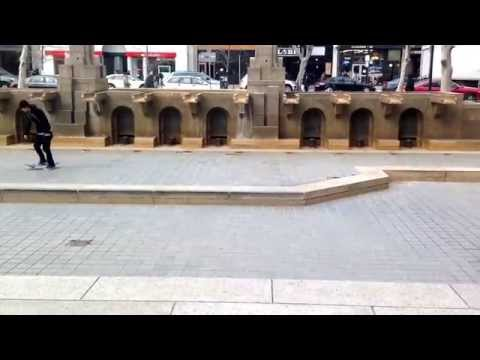 Skateboarders at the Copley Square Fountain