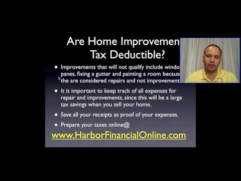 Are Home Improvements Tax Deductible