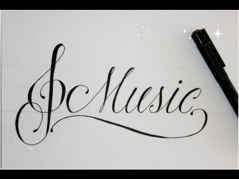 how to write in cursive fancy - music - easy version for beginners