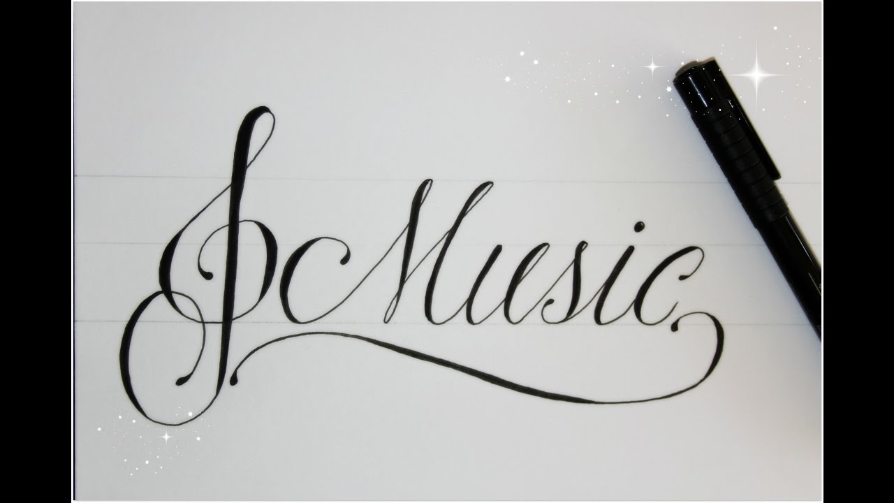 how to write in cursive fancy - music - easy version for beginners ...