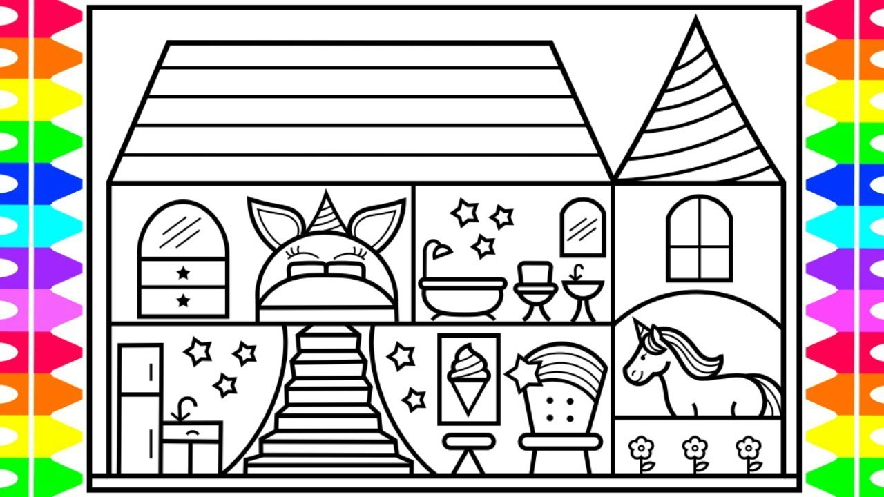 How to Draw a Unicorn House for Kids 🦄💜💚💛💖Unicorn House ...