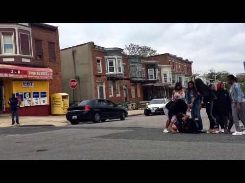 Young girls in West Baltimore fight