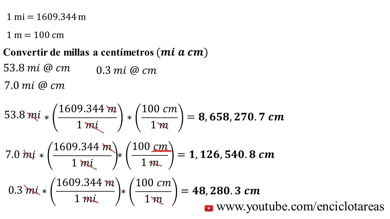 Convertir de Millas a Centímetros (mi a cm) - YouTube