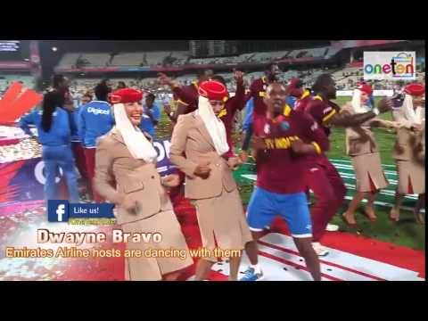 Dwayne Bravo even Emirates Airline Hostesses are dancing with them worldt20