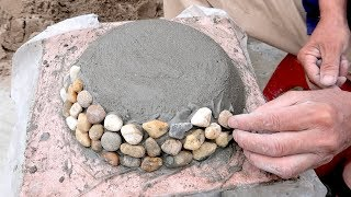 DIY Stone And Cement - How To Make Beautiful Pots From Cement And Stone - DIY Construction