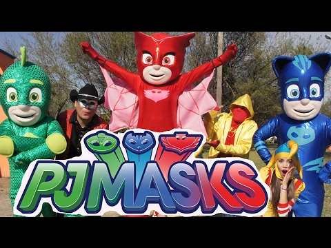 pj masks con manito y maskarin / héroes en pijamas