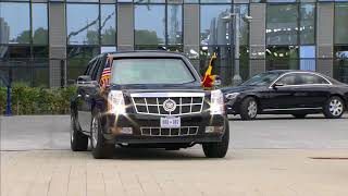 """Cadillac """"The Beast"""" leaving NATO headquarters with President of the United States Donald J Trump"""