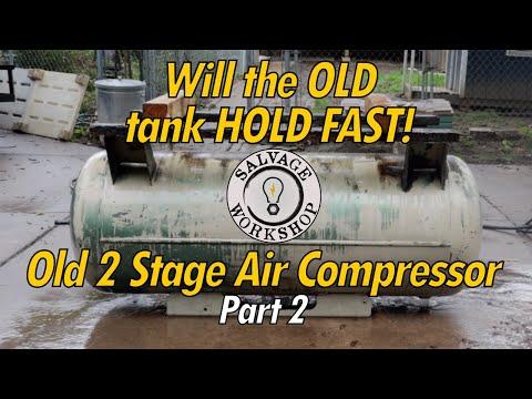 OLD 2 Stage Air Compressor ~ RESTORATION Part 2 ~  Tank & Motor