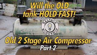 1970's 2 Stage Compressor - Tank & Motor ~ RESTORATION Part 2