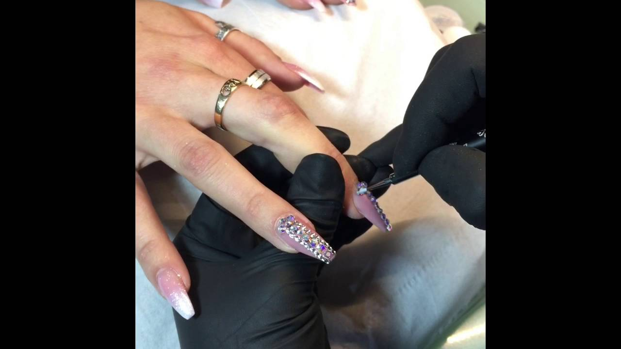 How To Apply Swarovski Crystals On Gel Nails Pigment Glitter Nails