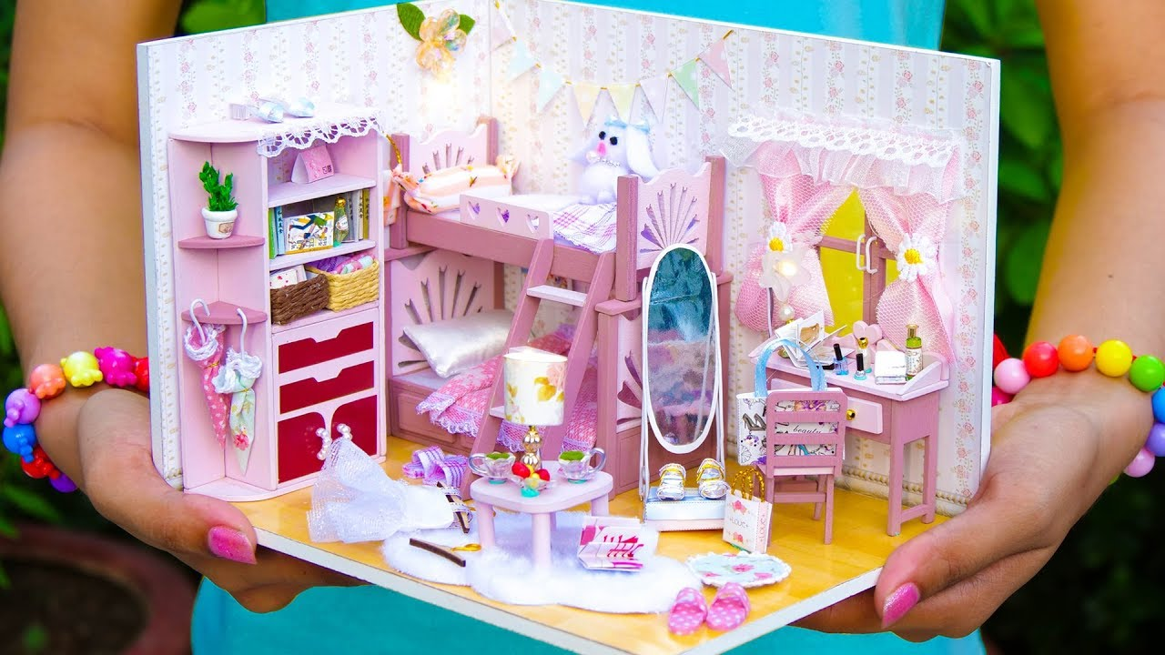 Diy Girly Miniature Doll House Bunk Bed Bedroom Youtube