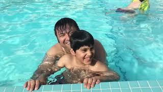 Swimming lesson for dad