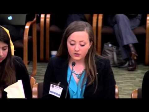 Rachel speaking at the state legislature.