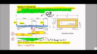 Bending Stress, Flexural Stress - Exam Problem, F12 (Pomelo)