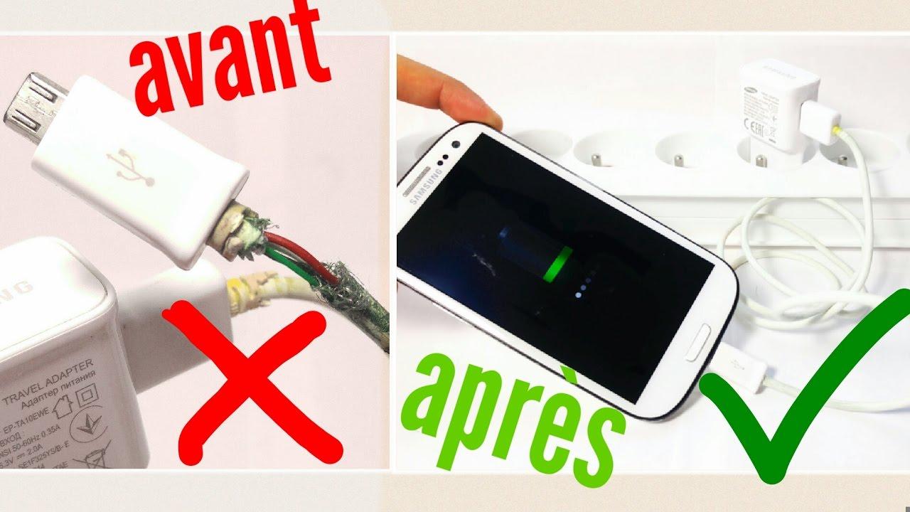 tuto comment reparer un cable chargeur samsung iphone etc reussite garantie