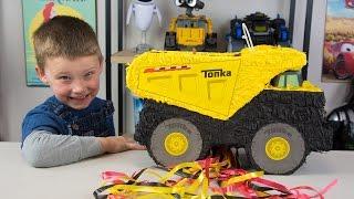 HUGE Tonka Truck Surprise Toys Pinata Toys for Boys Tonka Tinys Toy Trucks Toy Cars Kinder Playtime