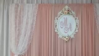 Оформление свадеб тканями и цветами в пудровой гамме в ресторане г.Королев