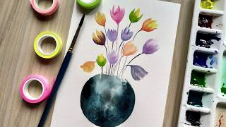 Watercolor flower painting wet into wet   Paint with David