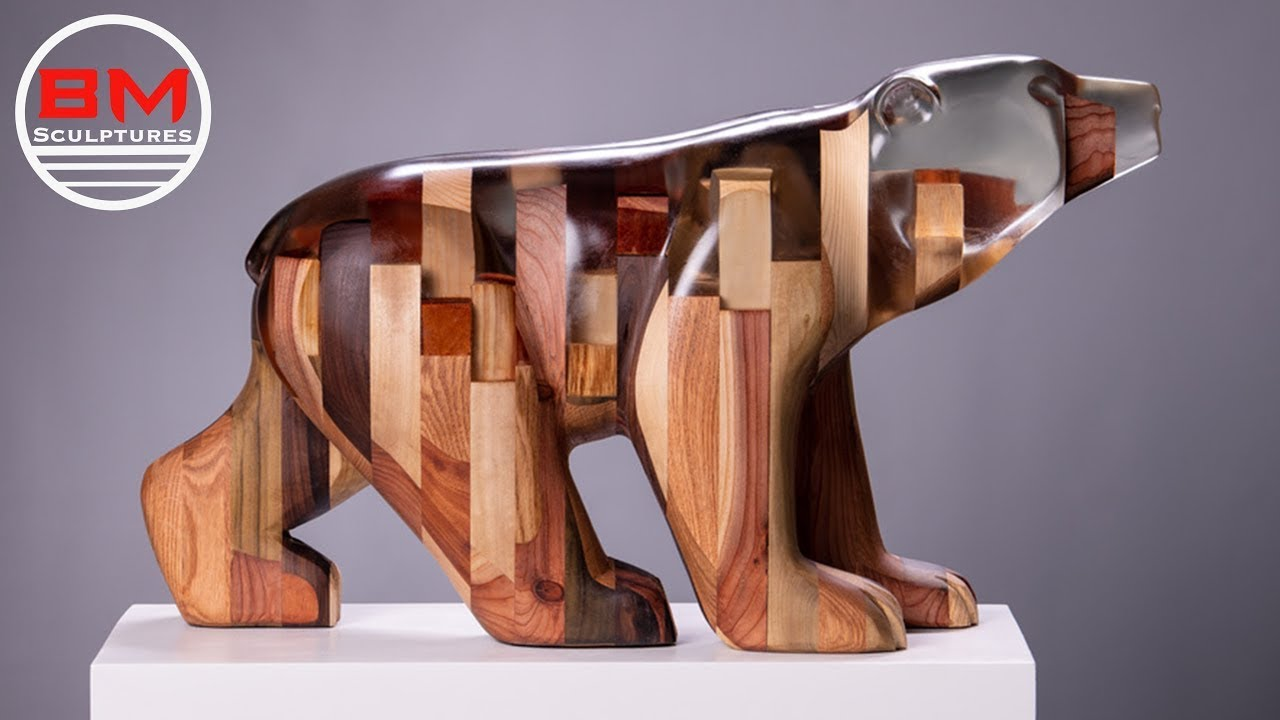 Carving a Bear out of Epoxy Resin and Wood