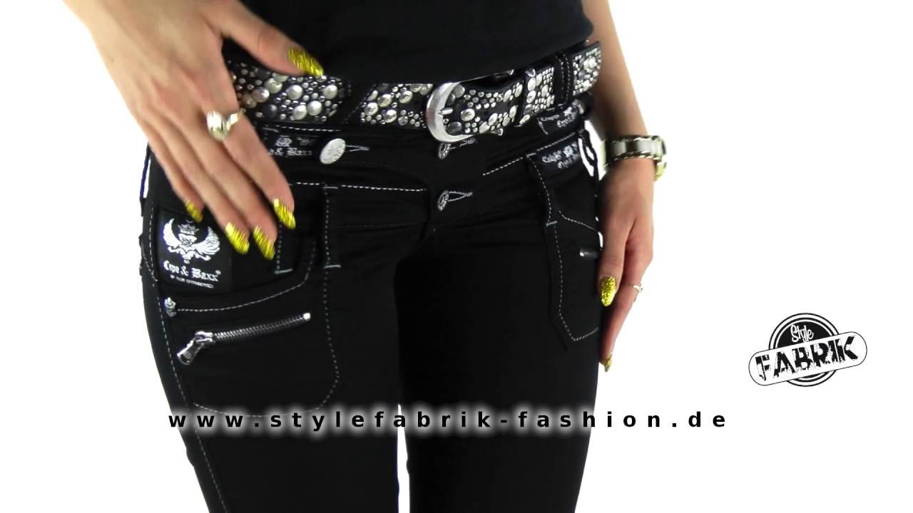 Stylische Damen Jeans von Cipo & Baxx schwarz mit dreifachem Bund
