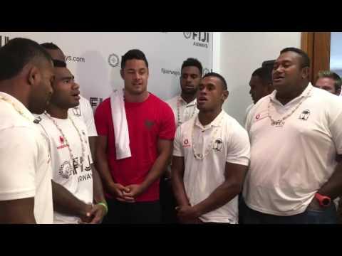 Fiji Sevens team perform with Jarryd Hayne