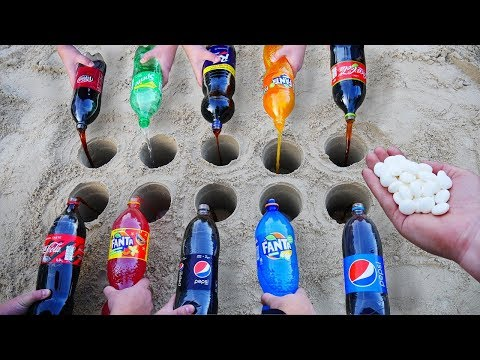 Experiment: Coca Cola, Fanta, Sprite, and other Sodas vs Mentos in different Holes Underground