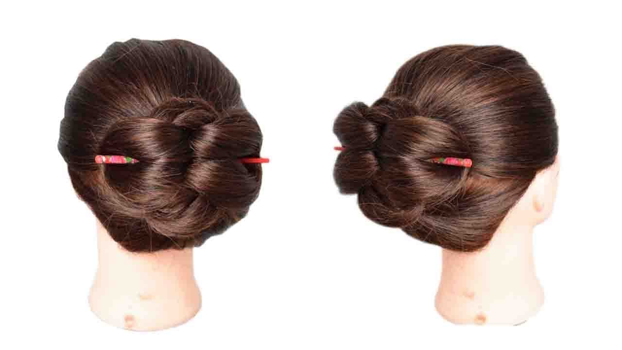 Easiest 1 Min Chinese Bun Stick Hairstyle Quick Bun Hairstyle Juda Style S For Style